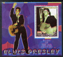 Turkmenistan 2001 Icons Of The 20th Century - Elvis Presley Perf S/sheet #2 With Superb Misplacement Of Magenta Giving A - Turkménistan