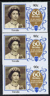 Tuvalu 1986 Queen's 60th Birthday 90c U/m Strip Of 3, Centre Stamp Imperf On 3 Sides Due To Comb Jump SG 382var (UH £35) - Tuvalu (fr. Elliceinseln)