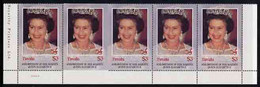 Tuvalu 1986 Queen's 60th Birthday $3 U/m Strip Of 5, Second Stamp Imperf On 3 Sides Due To Comb Jump, SG 384var - Tuvalu (fr. Elliceinseln)