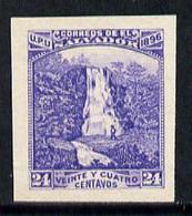 El Salvador 1896 Magra Falls 24c Imperf Proof In Blue On Ungummed Paper (as SG 166) - Salvador