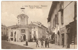 Cartolina Valle Macra Dronero Cuneo Piazza San Sebastiano Animazione FP VG 1917 - Otras Ciudades