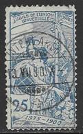 Switzerland Scott #100 Used UPU Allegory, 1900, CV$47.50, Corner Defect - Usati