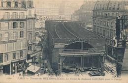 Paris Transports Urbains Les Travaux Du Métropolitain Les Fermes Du Boulevard Saint André - édit. ND Phot N° 1769 - Metro, Estaciones