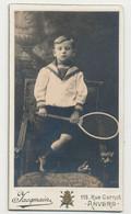 Originele Foto - Kabinetfoto - Kind Met Tennisracket - Fotograaf: Jacqmain, Anvers - Sports