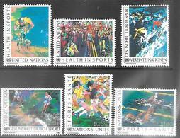 UN NY, Geneva, And Vienna 1988 Health In Sports Sets MNH  2016 Scott Value $5.55 - Otros
