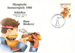 """Korea Cover 1988 Seoul Olympic Games Shooting - German Johann """"Hans"""" Riederer, Winner Of Bronze (DD25-58) - Summer 1988: Seoul"""