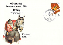 Korea Cover 1988 Olympic Games In Seoul Riding - German Karsten Huck, Won Bronze Medal (DD25-56) - Summer 1988: Seoul