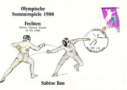 Korea Cover 1988 Olympic Games In Seoul Fencing - German Sabine Bau, Won Gold & Silver Medal (DD25-56) - Summer 1988: Seoul