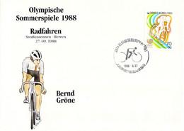 Korea Cover 1988 Olympic Games In Seoul Cycling - German Bernd Gröne, Won Silver Medal (DD25-56) - Summer 1988: Seoul