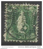 Switzerland - 1899 Standing Helvetia 50c Green Used   Sc 96 - Usati