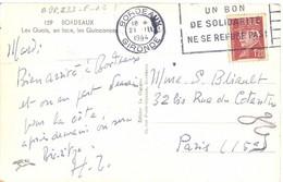 BORDEAUX GIRONDE OMec FLIER 21.III 1944 UN BON / DE SOLIDARITÉ / NE SE REFUSE PAS ! - Mechanical Postmarks (Advertisement)