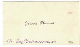JEANNE FLAMENT 14 RUE DESROUSSEAUX LILLE - Cartoncini Da Visita
