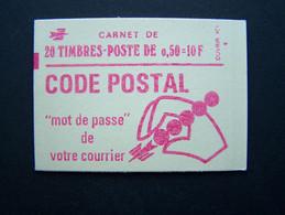 1664-C5 CONF. 8 CARNET FERME 20 TIMBRES MARIANNE DE BEQUET 0,50 ROUGE CODE POSTAL - Standaardgebruik