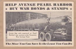 Help Avenge Pearl Harbor By War Bonds & Stamps 2-man  Jap Submarine Sous-marin - War 1939-45