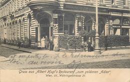 "D-2 AK Austria Gruss Aus Albert Hugl Restaurant "" Zum Goldenen Adler "" Wien IX Wahringerstrasse 21 - Wien Mitte"