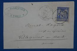 AB12  FRANCE  BELLE LETTRE  DEVANT  1898    BORDEAUX    + SAGE  25C    +  AFFRANCH. INTERESSANT - 1876-1898 Sage (Type II)
