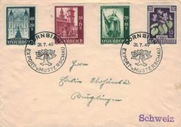 Dornbirn Export & Musterschau 1949 Baum Birne - Domfassade Dom St. Rupert - Veilchen > Schweiz - Vorläufer Messe - 1945-60 Cartas