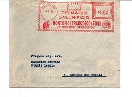 1934 EMA Affrancatura Meccanica Rossa Freistempel Casinalbo (MO) Primario Salumificio MONTORSI Maiale In Smoking - Marcofilia - EMA ( Maquina De Huellas A Franquear)