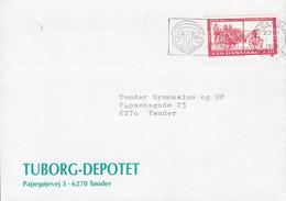 Denmark TUBORG-DEPOTET Papegøjevej (Parot Road) Tønder Slogan HADERSLEV 1989 Cover Brief Agricultural Museum Stamp - Brieven En Documenten