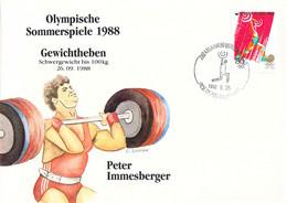 Korea Cover 1988 Seoul Olympic Games Weightlifting - German Peter Immesberger, Bronze Medal (DD30-28) - Summer 1988: Seoul