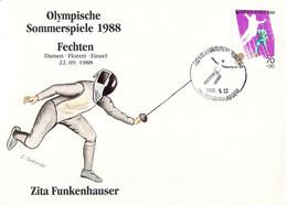 Korea Cover 1988 Seoul Olympic Games Fencing - German Zita Funkenhauser, Gold Medal (DD30-28) - Summer 1988: Seoul