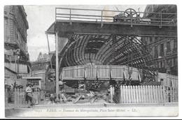 75 - CPA - PARIS TRAVAUX DU METROPOLITAIN - PLACE SAINT-MICHEL - Metro, Estaciones