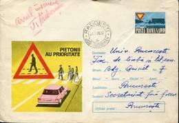 66489 Romania,stationery Cover Circuled 1970, Road Safety,Verkehrssicherheit,sécurité Routière - Accidentes Y Seguridad Vial