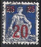 Schweiz Suisse 1921: Aufdruck =20=  Zu 151 Mi 161 Yv 183 Mit Zentrum-Stempel THAL (SG) 20.VII.21 (Zu CHF 1.00) - Used Stamps