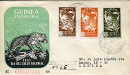 66494 Guinea Espanola, Fdc Circuled Registered 23.11.1951  Dia Del Sello Colonial - Guinea Espagnole
