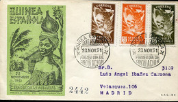 66495 Guinea Espanola, Fdc Circuled Registered 23.11.1951  Dia Del Sello Colonial - Guinea Espagnole