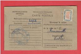 LUCE 1946 CARTE DE RAVITAILLEMENT DE RAIMONDE BIGOT NEE LAROSE NEE A FRANCOURVILLE FICHE DE CONTROLE RATIONNEMENT - Andere Gemeenten