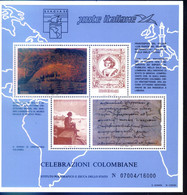 ITALIA 1992 Celebrazioni Colombiane BF - Decouverte / Discovery America C.COLOMB / COLUMBUS / COLON / COLOMBO - Blocks & Sheetlets