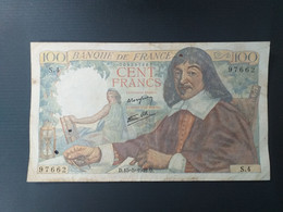 FRANCE 100 FRANCS 1942 DESCARTES - 100 F 1942-1944 ''Descartes''