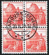 BLOC DE 4 TIMBRES OBLITERES 1938 C/.S.B.K. Nr:215z. Y&TELLIER Nr:312a. MICHEL Nr:327z. PAPIER GRILLE . - Used Stamps