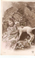"""""""Pretty Little Girl With Herpet"""" Nice Old Vintage French Postcard - Scenes & Landscapes"""