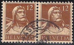 Schweiz Suisse 1917: Tell (1914) Zu 127 Mi 119 Yv 139 Im Paar Mit Stempel BASEL ?.XII.17 (Zumstein CHF 20.00) - Used Stamps
