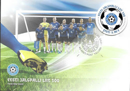ESTONIA, 2021, FDC, FOOTBALL, 100th ANNIVERSARY OF THE ESTONIAN FOOTBALL FEDERATION, 1v ROUND STAMP ON FDC - Autres