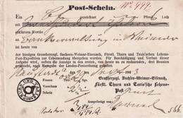THURN U. TAXIS 1863  DOCUMENT POSTAL - Thurn Und Taxis