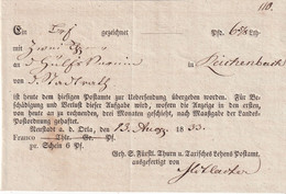 THURN U. TAXIS   1833  DOCUMENT POSTAL - Thurn Und Taxis