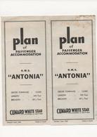 "DÉPLIANT    PLAN    R.M.S.  ""  ANTONIA  ""  PAQUEBOT  CUNARD - Unclassified"