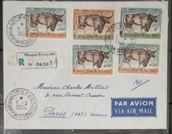 FDC Cambodia Cambodge Kampuchea As Registered Cover 1964 To France : Buffalo / Kouprey / 02 Photos - Cambodia