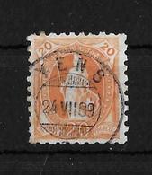 1888 STEHENDE HELVETIA  →  (11 Zähne Senkrecht) Weisses Papier Form A,  Zentrischer Rundstempel YENS / VD   ►SBK-66B◄ - Usati