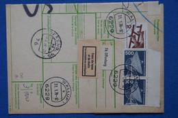 AB14 ALLEMAGNE  BELLE   CARTE COLIS   BUNDESPOST 1978  WALLUF  POUR   PARIS  FRANCE + AFFRANCHISSEMENT PLAISANT - Lettres & Documents