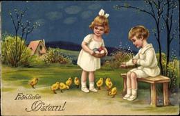 CPA Glückwunsch Ostern, Kinder, Küken, Ostereier, Weidenkätzchen - Pâques