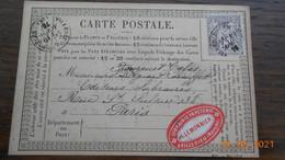 Carte De 1876 à Destination De Paris - 1876-1898 Sage (Type II)