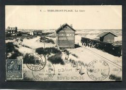 CPA - MERLIMONT PLAGE - La Gare - Train En Gare, Animé - Andere Gemeenten