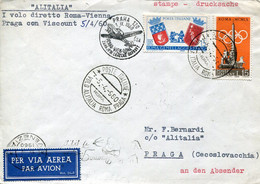 66515 Italia,special Postmark 1960 Roma, First Flight ALITALIA  Roma/prag   1^ Volo Alitalia  Roma Praga - Andere (Lucht)