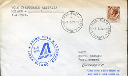 66517 Italia,cover Circuled With The First Flight ALITALIA 1974  Milano - Budapest - Andere (Lucht)
