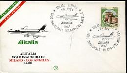 66519 Italia,special Cover With Postmark 1984 Milano, Inaugural Flight  Milano - Los Angeles ALITALIA - Andere (Lucht)
