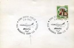 66520 Italia, Card With Postmark 1984 Milano, Inaugural Flight  Roma  - Los Angeles ALITALIA - Andere (Lucht)